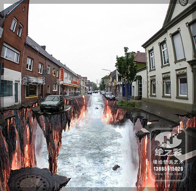 街道地面3d彩绘 | 3d立体画 | 产品中心 | 合肥绘之彩